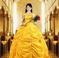 Nuevo 2016 Fantasia de Halloween Cosplay Mujeres Sur la Bella Y La Bestia Princesa de Adultos Belle Vestuario