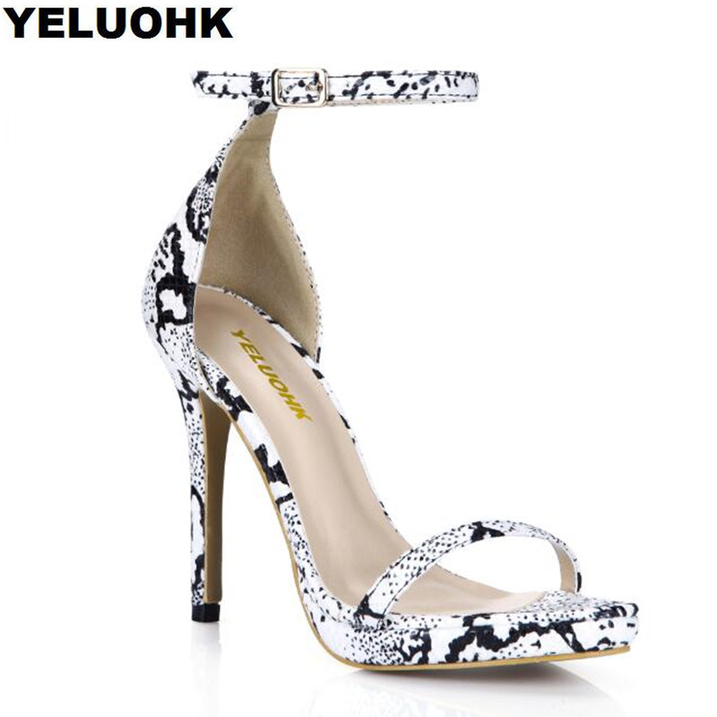 где купить Plus Size 35-43 Snake Style Sexy High Heels Women Sandal Platform Cover Heel Summer Shoes Pumps 12cm Ankle Strap Sandals по лучшей цене