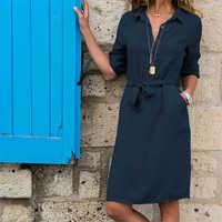 Turn-Down Collar Shirt Dresses Women Button Slim Waist Lacing 3/4 Sleeve Breathable Dresses Straight Casual Pocket A-Line Dress