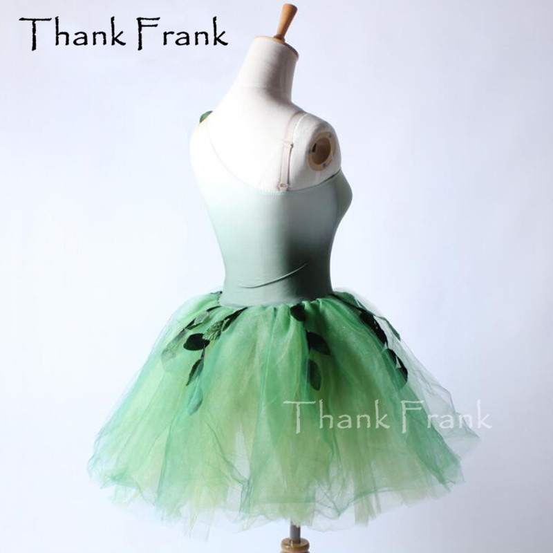 Tree Leaves Ballet Tutu Dress Children Adult One-Shoulder Neckline Performance Dance Costume C294