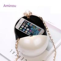 AMINOU Women Round Bag Acrylic Clutch Pearl Purse Handbag Mini Bolsa Redonda Ladies Evening Party Wedding Bags