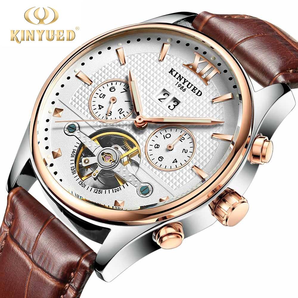 KINYUED Brand Mechanical Watches For Men Skeleton Automatic Tourbillon Watch Mens Luminous Calendar Wristwatch Relogio Mecanico