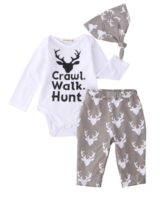 f722784bf03 Newborn Baby Boys Girls Clothes Set Crawl Walk Hunt Rompers Tops Pants Hat  Outfits Kids Boy Girls Rompers For 0-2Y