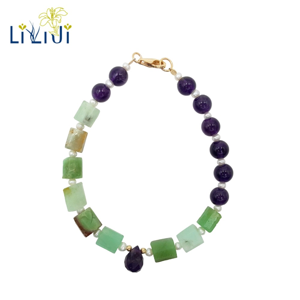 Lii Ji Unique Natural Amethysts Tiny Freshwater Pearl Raw Chrysoprase Gold Filled Unique Fashion Bracelet pearl beading raw cut bardot tee