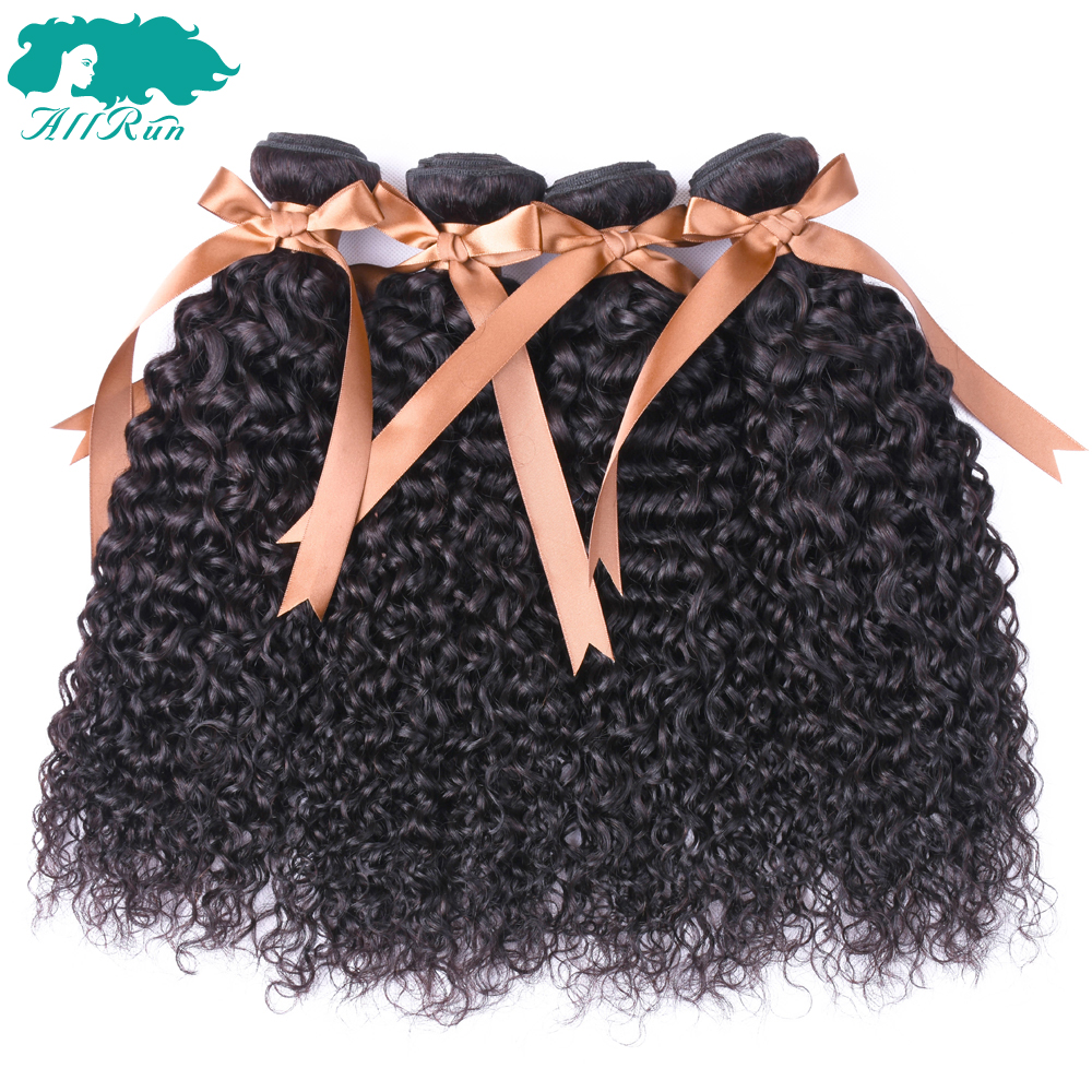 ALLRUN Pre-colored Non-Remy Human Hair Bundles With Closure Indian Hair Kinky Curly 4Bundles With Lace Closure Hair Extension