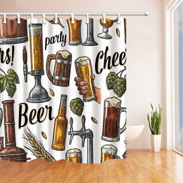 Vintage Beer Tap Hand Hold Glass Bottle Hop For Party Shower Curtain Waterproof Polyester Fabric Bath Curtains