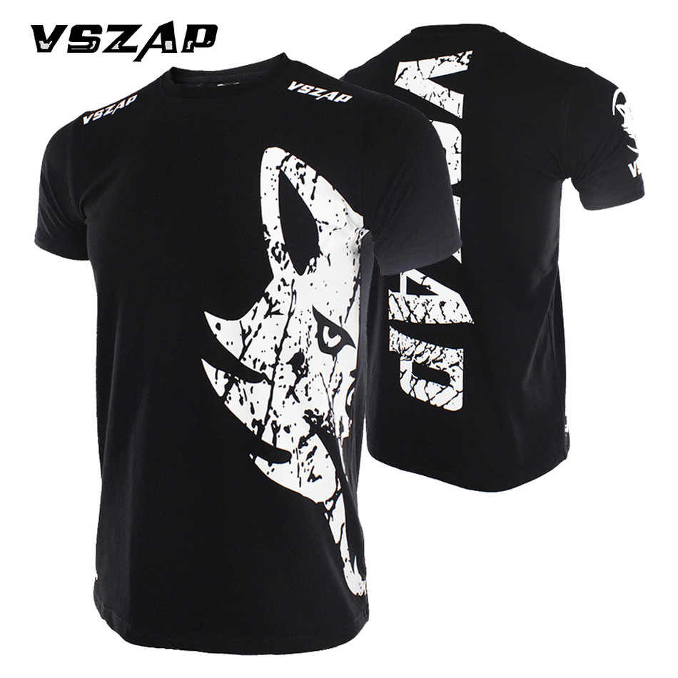 Vszap Tinju MMA T Shirt Gym Kaos Pertempuran Pertempuran Seni Bela Diri Kebugaran Latihan Muay Thai T Shirt Pria Homme boxeo Celana Pendek