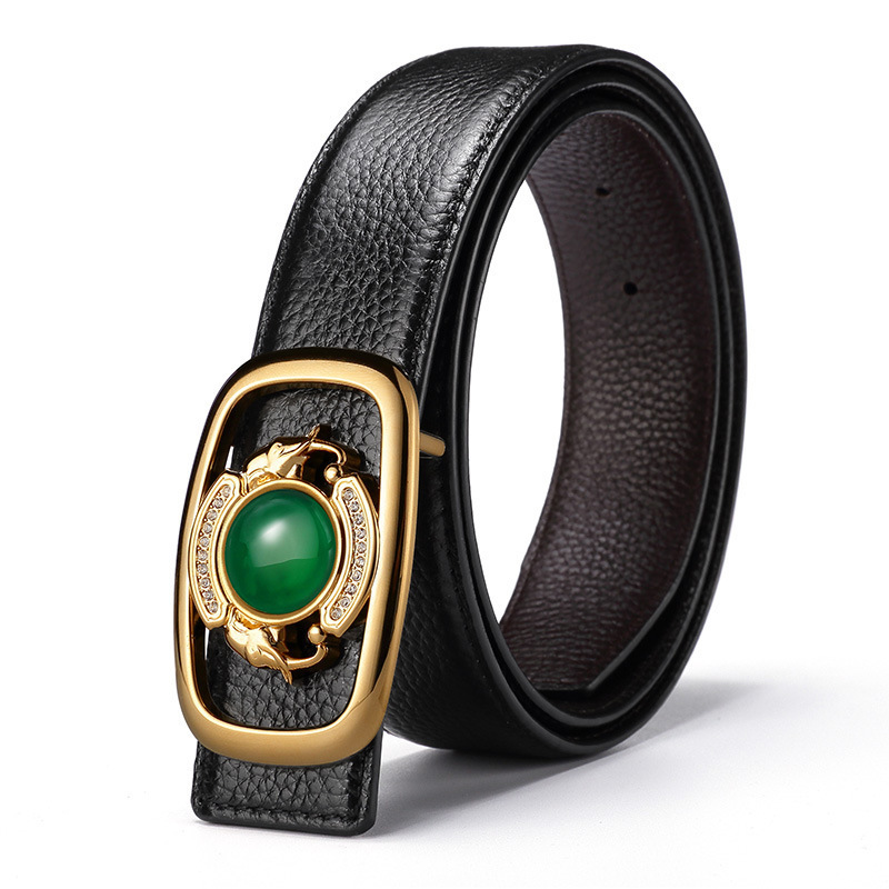 Genuine Leather Gemstone Jade Belt Chinese Style Buckle Mens Belts Luxury Men Belt TOP Quality Strap Ceinture Homme Belts