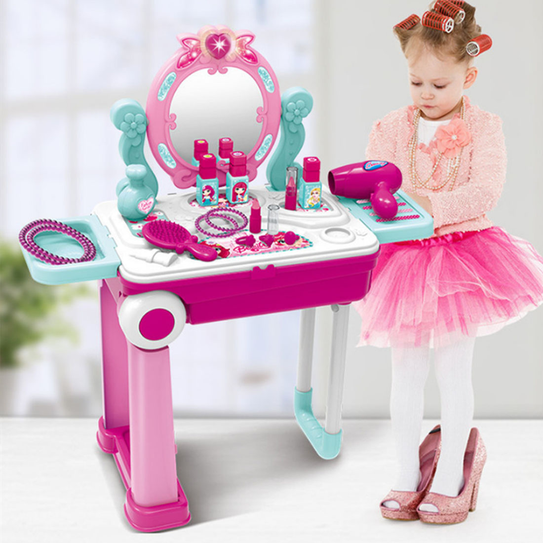 Kids Beauty Makeup Tool Sets Pretend Play Workbench Playset Educational Toy with Luggage Case Girls Toy