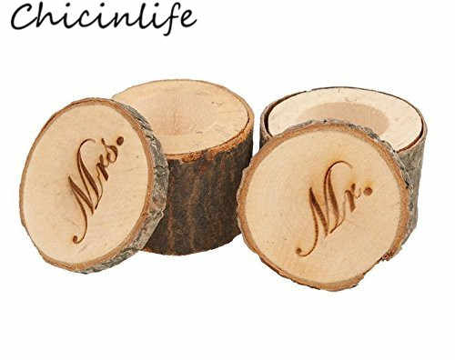 Chicinlife 2Pcs/lot Printed Mr Mrs Wooden Chic Rustic Ring Box Wedding Pillow Ring Boxes Holder Valentines Decoration Supplies
