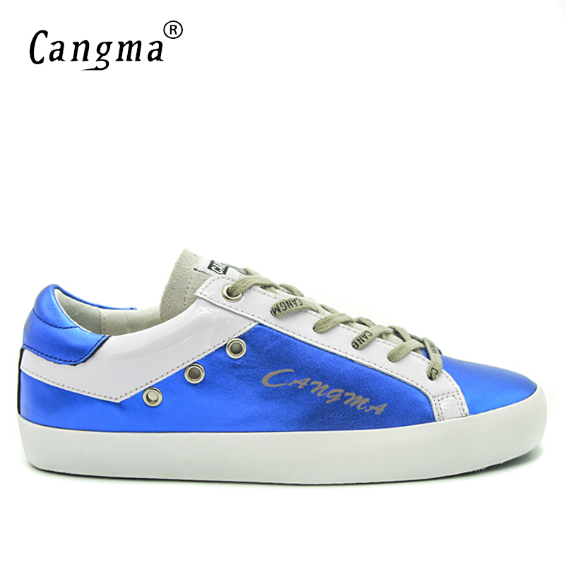 Image 2 - CANGMA Blue Shoes Leather Men Genuine Men Casual Platform  Sneakers Shoes Adult Male Breathable Footwear For Men Valentine  ShoesMens Vulcanize Shoes