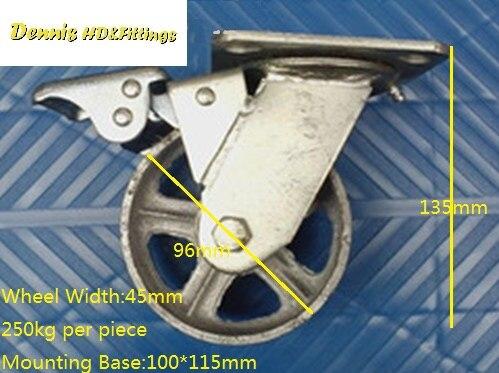 4 Cast Iron Caster Universal Swivel Castor With Brake 5 cast iron caster universal swivel castor with brake