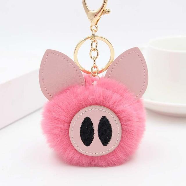 Cute Women's Piggy Fur Ball Keychain Cartoon Pig Fur Pom Pom Keychain Bag Purse Car Key Holder Fluffy Keyring Pendant Llaveros