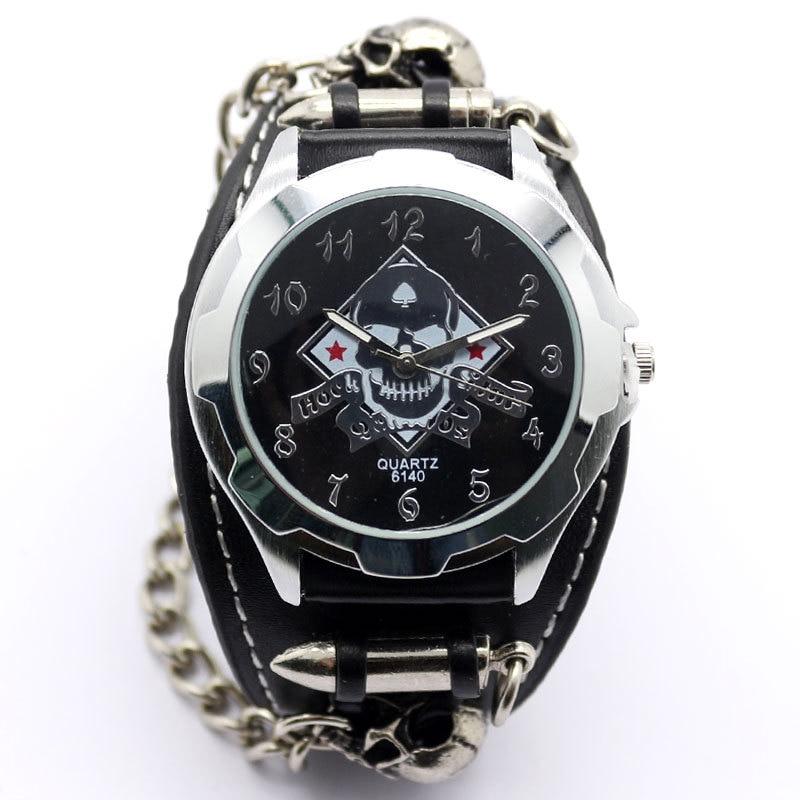 Black Punk Watch Rock Skull Quartz Wrist Watch Chain Bracelet Boys Mens Relogio Q2501