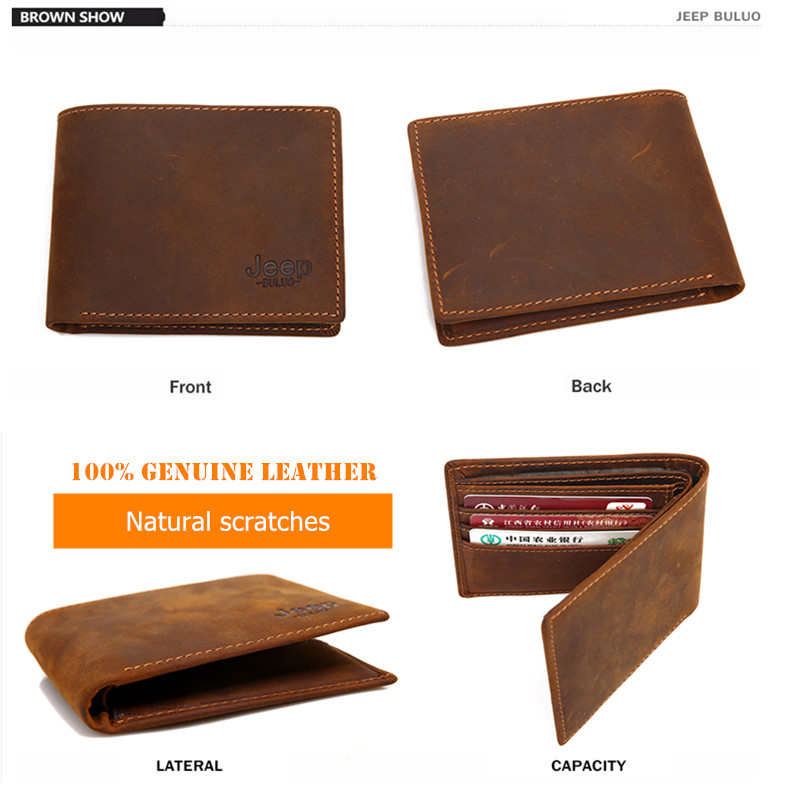 Image 4 - JEEP BULUO Luxury Brand Men Wallets Business Cow Genuine Leather  Mens Card Wallet Purse Top Quality Short Carteira Masculinacarteira  masculinamale purseleather mens wallet