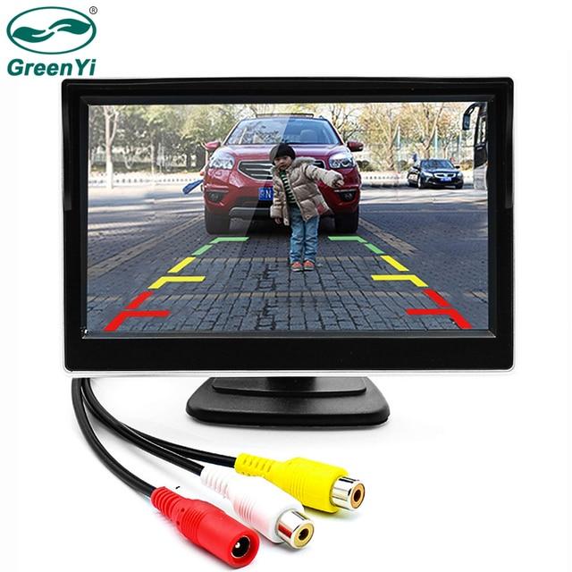 GreenYi 5 بوصة سيارة لون TFT LCD الرؤية الخلفية رصد الرقمية شاشة عرض دعم VCD DVD GPS كاميرا مع 2 الفيديو المدخلات