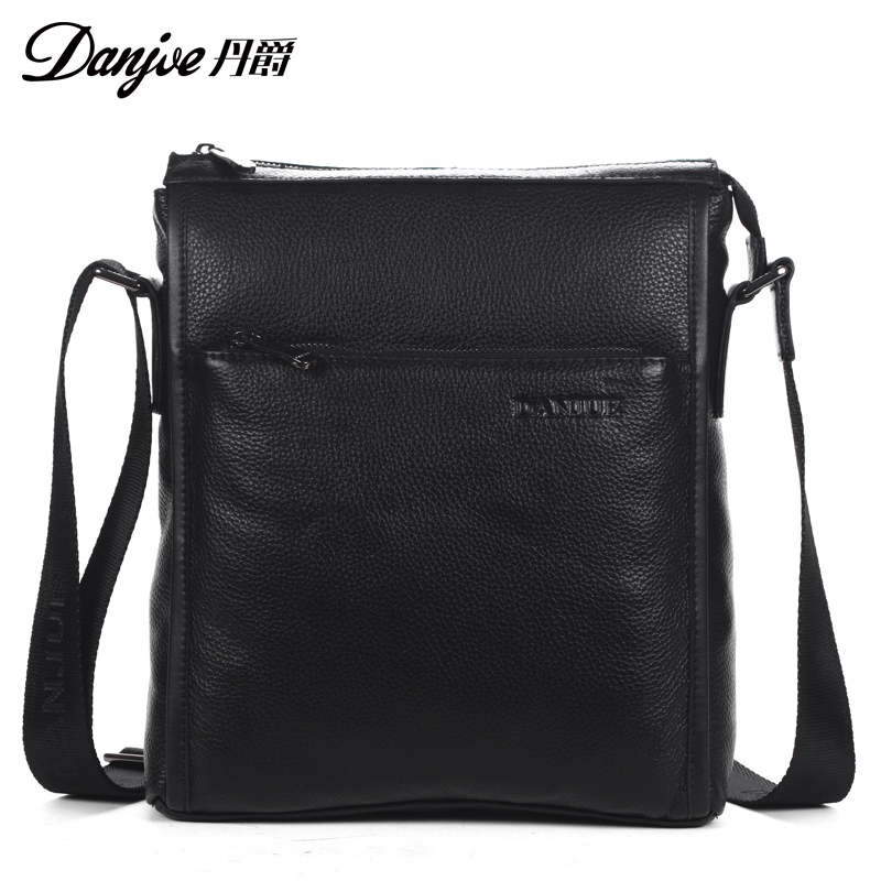 ФОТО DANJUE Fashion Men Small Zipper Crossbody Bag Vintage Genuine Leather Shoulder Bags Brand Male