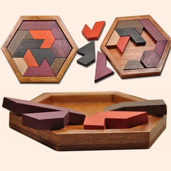 Hot Selling Wooden IQ Game Jigsaw Intelligent Tangram Teaser Puzzle Baby Kid Educational Toy