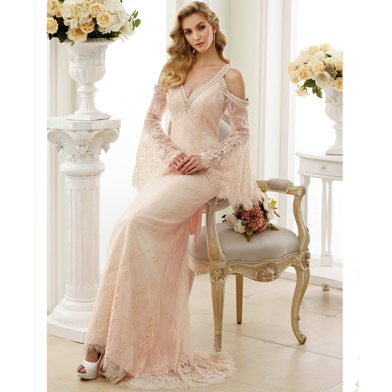 201a2318f6 LAN TING BRIDE Sheath Column Wedding Dress Full Sleeves V neck Sweep Brush  Train Lace Sheath Bridal Gown with Vintage-in Wedding Dresses from Weddings  ...