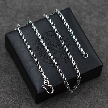 Do the old vintage spiral and 925 silver necklace wholesale fashion domineering silver sweater chain