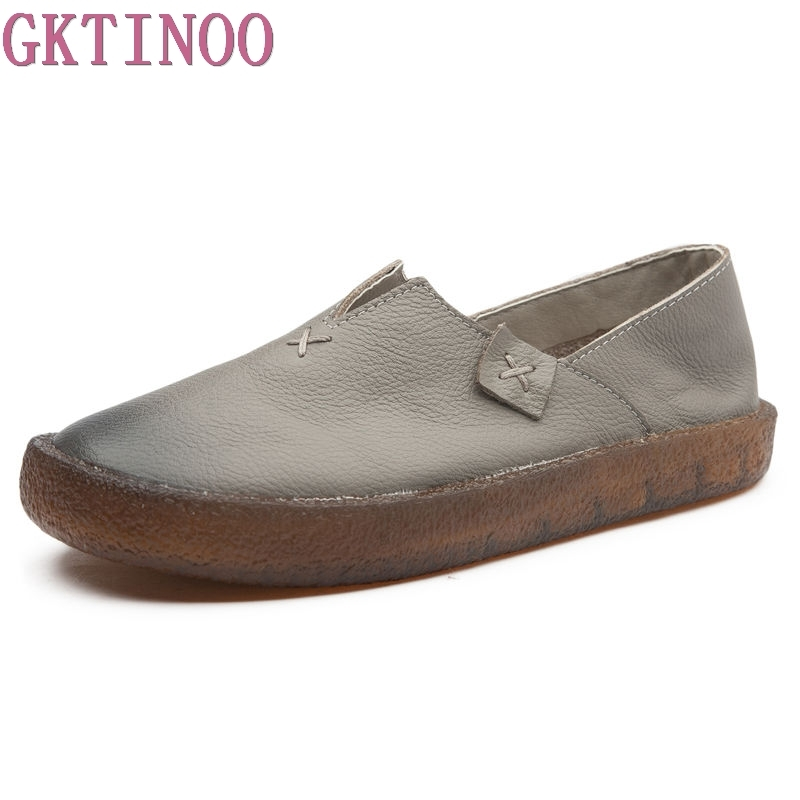 GKTINOO Designer Women Black Flats Slip On Ladies Casual Genuine Leather Flat Handmade Women Shoes Soft Bottom Loafers цена
