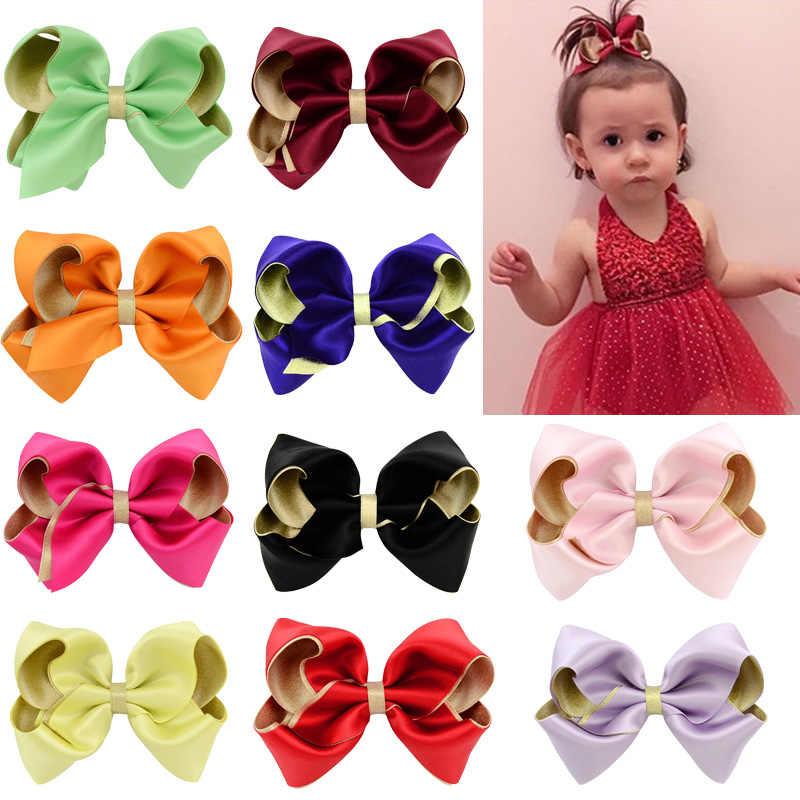 3,6 Inch Mädchen Kinder Haar Zubehör Baby All-inclusive Tuch Haar Bögen Große Glitter Polyester Doppel-schicht Große bogen Haarnadeln