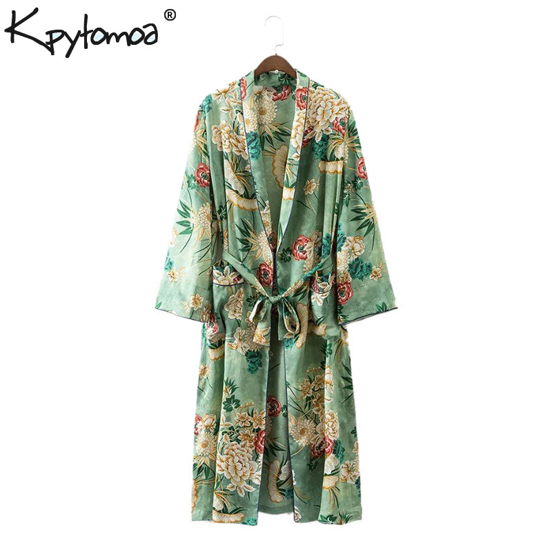 Vintage Etnische Bloemenprint Sjerpen Kimono Shirt Dames 2018 Nieuwe - Dameskleding