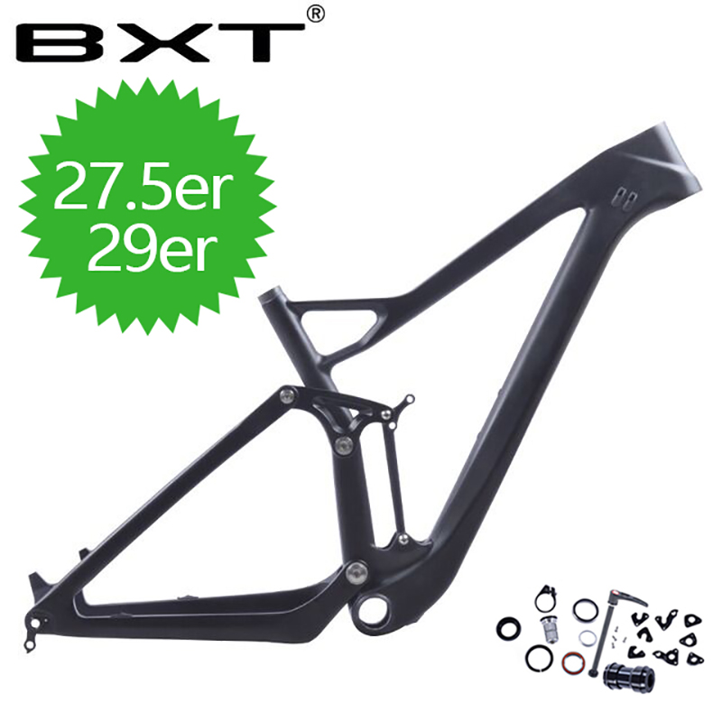 2018 BXT new 27erFull Suspension MTB Bicycle Carbon frame 27er plus boost suspension frame 148*12 mountain bike frameset Made in 17 inch mtb bike raw frame 26 aluminium alloy mountain bike frame bike suspension frame bicycle frame