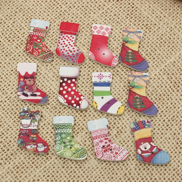 Hot Sale 50pcs Cute Wooden Santa Christmas Socks Stocking Buttons