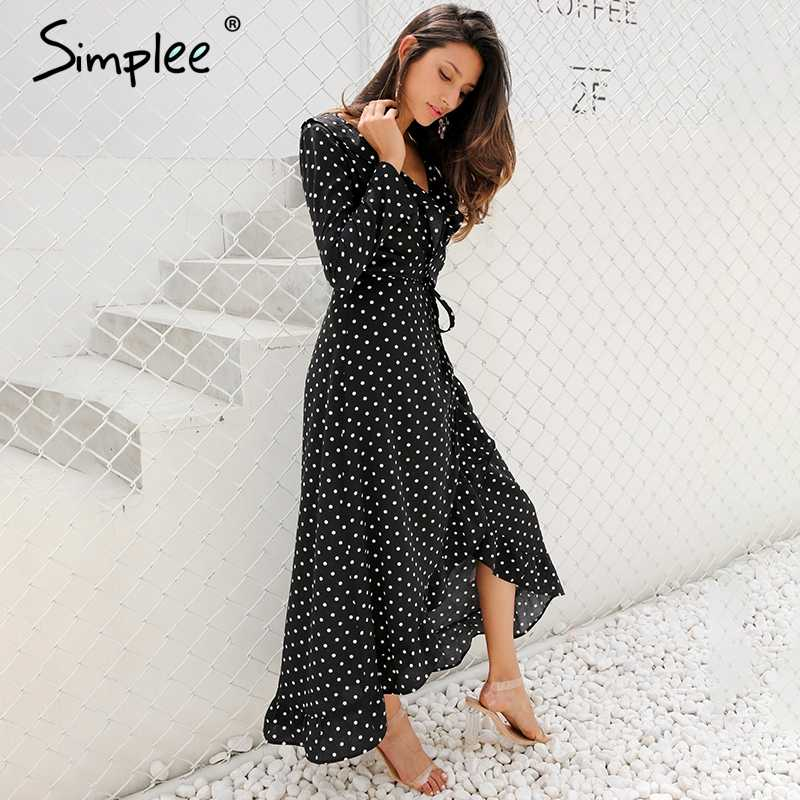 ... Simplee Autumn long sleeve polka dot ruffle wrap dress Women sexy v  neck split maxi dress ...