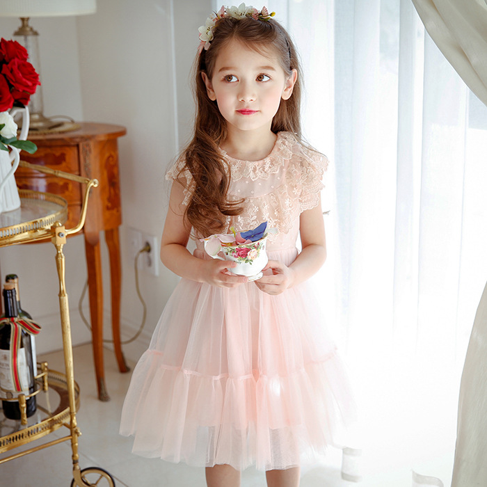 2-9 Yrs Summer Baby Girl Dress Princess Lace Knee-length Dresses for Birthday Party Wedding or School Baby Girl Clothes Kids fashion jacquard spring and autumn long sleeved lace print dress princess party baby girl dresses girl clothes 3 7 yrs
