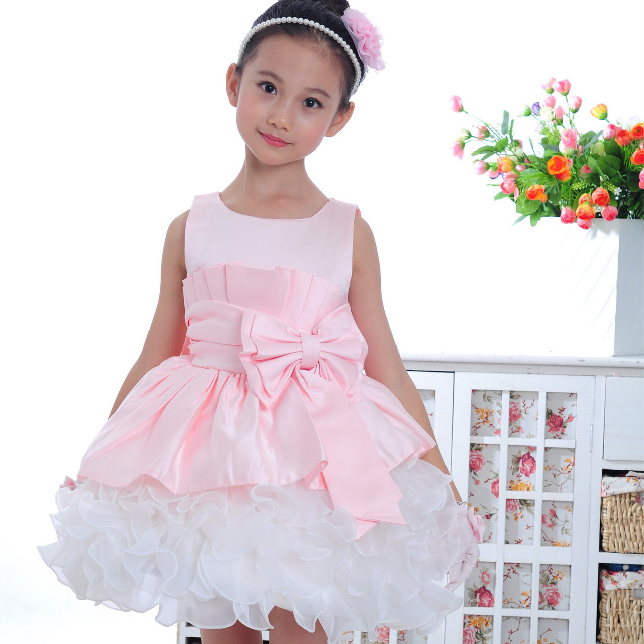 elegant pink sleeveless kids clothes formal baby girls