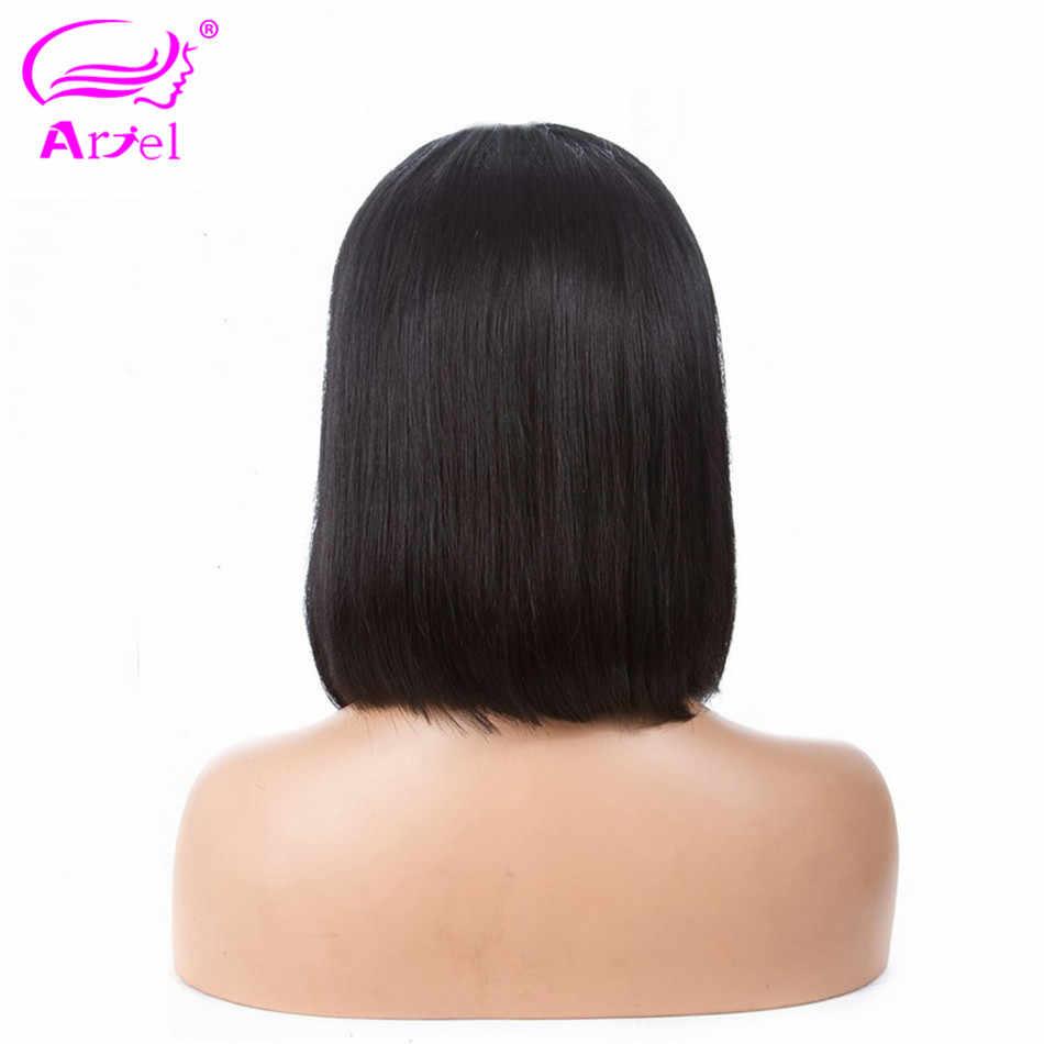 Ариэль перуанские прямые 13*4 человеческие волосы на кружеве Парики Короткий парик-Боб remy волосы боб парики для черных женщин с отбеленными узлами