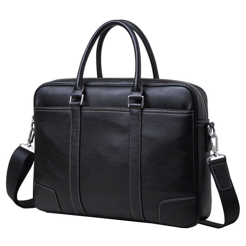 Luxury Genuine Leather Men s Briefcases 14 Laptop Handbag Cowhide Men Business Crossbody Bag Messenger Shoulder