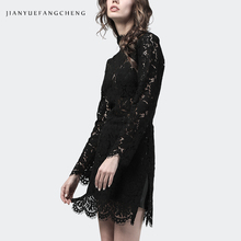 For Women Sexy Bodycon Black Lace Dress Long Sleeve Stand Collar Hollow Out Floral Design Sheath Mini Party Night Dresses sexy stand collar hollow out lace up zipper velvet dress for women