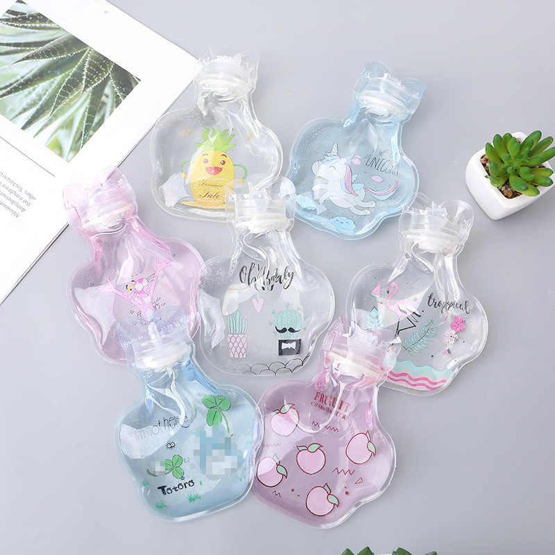 MINI Cartoon Hand Warm Water Bottle Cute Transparent Hot Water Bottles Small Portable Hand Warmer Water Injection Storage Bag