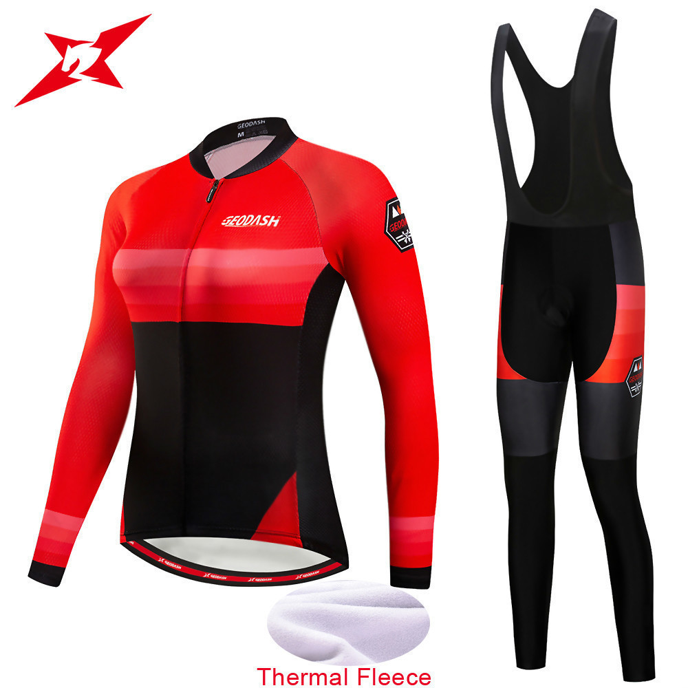 GEODASH Good Quality Thermal Fleece Cycling Clothing Woman 2019 Winter cycling  clothes women GEL Pad Bike 17fcd9c69