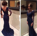 2015 Custom Made Cheap Vestidos Long Sleeve V-neck Mermaid Party Dresses/Elegant Navy Blue Lace Sexy Backless Prom Dresses
