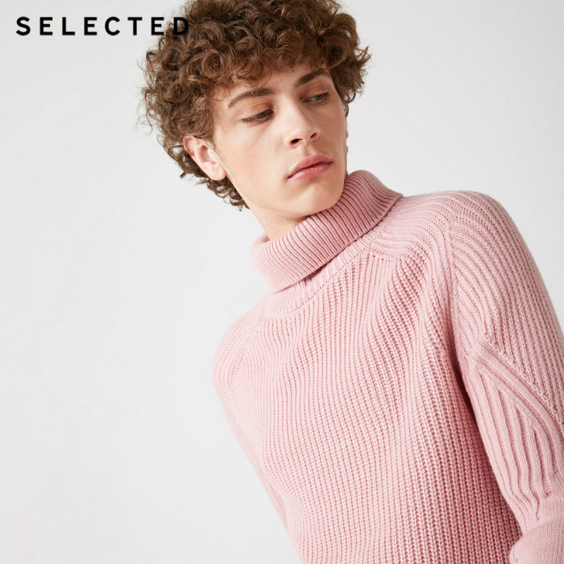 Image 2 - SELECTED High Neck Multiple Colors Knitted Pullovers Men's Wool blend Sweater  418425533-in Pullovers from Men's Clothing