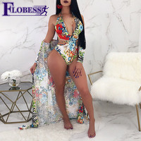 FLOBESS 2018 Women Sexy Bandage Bodysuit Swimsuit Print Bikinis Set Swim Body Suits Ladies Bathing Suit Bodysuits Beach Cover up