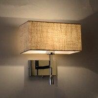 Современный творческий светодиодный настенный светильник прямоугольник Ткань Тенты переключатель диапазонов, светодиодные чтения настен