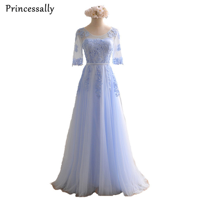 Light Blue Bridesmaid Dress Floor Length Appliques Half Sleeved ...