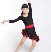 Girls Black Ruffled Professional Ballroom Latin Salsa Cha Cha Dance Competition Dress For Kid Dancewear Clothes