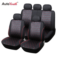 9PCS Car Seat Covers Universal Size Lnterlock Fabric Material With 3MM Composite Sponge Car Styling Gift