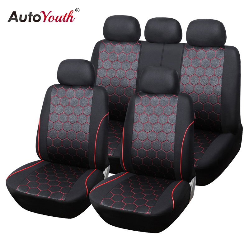 AUTOYOUTH Soccer Ball Style Car Seat Covers Jacquard Fabric Universal Fit Most Brand Vehicle Interior Accessories Seat Covers autoyouth hot sale front car seat covers universal fit tire track detail vehicle design seat protective interior accessories