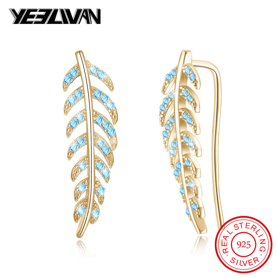 100% 925 Sterling Silver Trendy Leaf Earrings for Women Blue Color Crystal Cuff Ear Clip Earing Fashion Jewelry Accessories 2018 pair of trendy rhinestone oval leaf earrings for women page 7