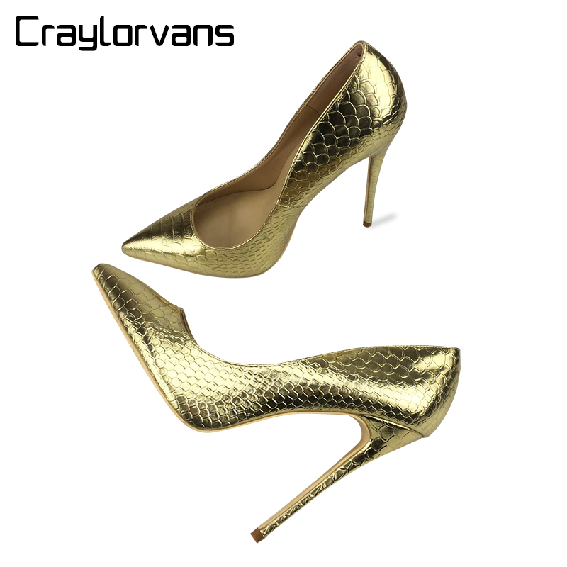 Craylorvans 2018 Spring Women Shoes NEW Fashion Snake Leather Wedding Shoes Sexy Pointed Toe Pumps Gold High Heels Party Shoes fashion new spring summer med high heels good quality pointed toe women lady flock leather solid simple sexy casual pumps shoes