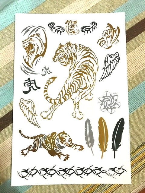 DIY Flash Tattoos Gold Silver Metal Temporary Tattoos Tiger Wing Golden Necklace Tattoo For Girl Boy
