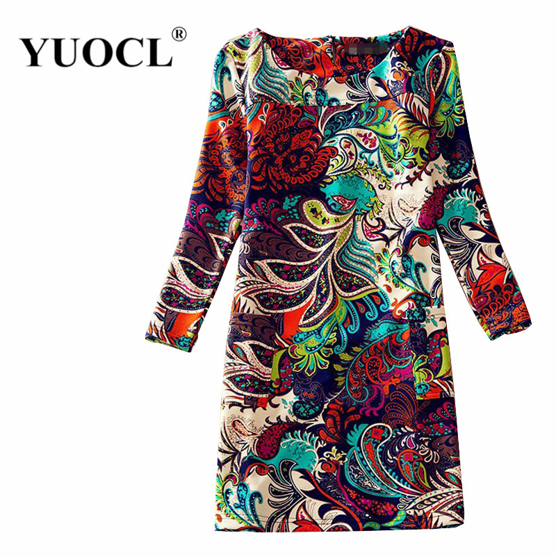 Women Winter Dresses 2015 Long Sleeve Vintage Floral Print Women's Dress Autumn Female Casual Office Dresses Plus size Dress