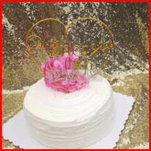 2017 Free Shipping Heart Shaped Personalized Name Birthday Cake Toppers Customized Initial Letter Cake Decorations All Handmade